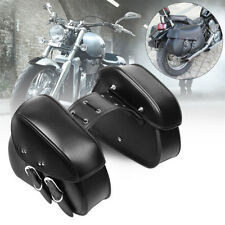 Pair Motorcycle PU Leather Saddlebags Saddle Swingarm Left Right Side Tool Bags