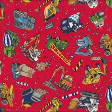 Construction Bulldozer Cement Dump Truck Digger Red Quilt Fabric FQ *New*