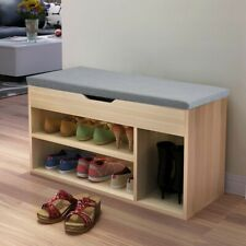 Hallway Storage Bench Seat Shoe Cabinet With Drawers Wooden Grey Home Furniture