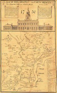 """1752 Map of Philadelphia and the State-House 10""""x16"""" Scull and Heap plan Print"""