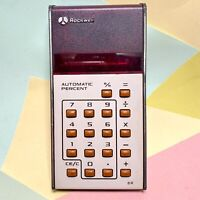 RARE 1970's Vintage Rockwell 8R 8 Digit RED LED Calculator + Original Case