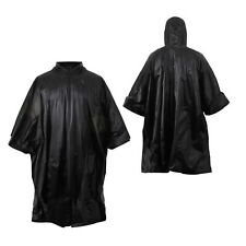 Black Rip-Stop Military Poncho Tactical Waterproof Hooded Rain Poncho 4958