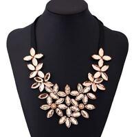 Fashion Women Crystal Chain Pendant Statement Choker Collar Bib Flower Necklace