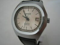 NOS NEW VINTAGE SWISS AUTOMATIC DATE WATER RESISTANT LANCO MENS ANALOG WATCH 60'