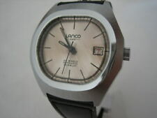 22d2c38fcd6 NOS NEW VINTAGE SWISS AUTOMATIC DATE WATER RESISTANT LANCO MENS ANALOG WATCH  60