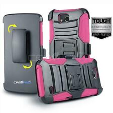 PINK REFINED ARMOR COVER PHONE CASE & SWIVEL HOLSTER CLIP FOR [ZTE MAJESTY PRO]