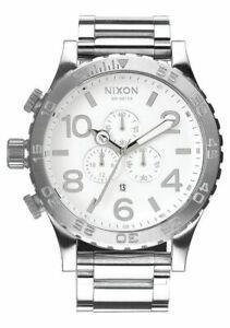 New Authentic NIXON Watch 51-30 CHRONO Highpolish Silver White A083-488 A083488