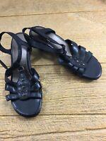 Easy Spirit Womens Black Sandals Size 8 Leather Shoes Esosanna Low Heel