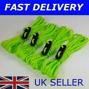 X4 FLUORESCENT Guy Line Ropes Tent Camping ideal for RiZE Festival or Download