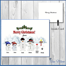 10  PERSONALISED CHRISTMAS SNOWMEN CARDS XMAS GREETINGS CARD WITH ENVELOPES