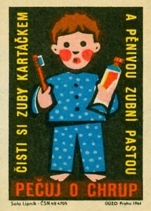 Honour, Clean and Brush your Teeth, Czech, Vintage Classic Dentist Poster