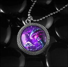 Magic Mushrooms Colorful Psychedelic Hippie Trip Fantasy Silver Pendant Necklace