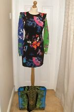 UK Size 12 EUR 38 H&M Versace STAMPA Black 100% Silk Chinese print dress