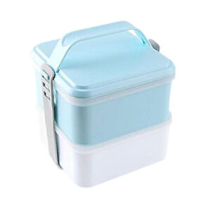 Bento Box Containers All-in-one Stackable 2 Layer Lunch Box with Free Cutlery TR