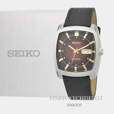 Authentic Seiko Men's Recraft Series Automatic Black Leather Watch SNKP25