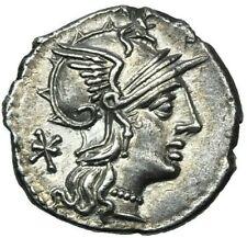 132 B.C. Ancient NGC CH AU 5/4  P. Maenius Antiaticus Silver Denarius