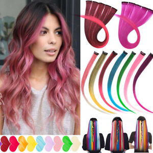"""10PCS 20"""" Multi Pink Colour Clip In Highlight Streaks Hair Extensions as Human"""