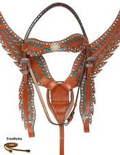 USED CRYSTAL PLATED SHOW LEATHER BRIDLE BREAST COLLAR WESTERN HORSE TACK SET