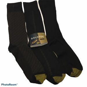 NWT GOLDTOE Black Bamboo Mens Black Dress Socks 3 PK Style:2056S, Shoe SZ 6-12.5