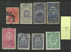 ECUADOR Classics...Revenue Stamps...Used...8 Diff