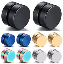 Men 6/8/10/12MM Stainless Steel Magnetic Clip On Ear Stud Earrings No Piercing