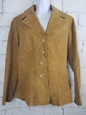 Wilsons Leather suede woman Jacket Coat size Medium Brown lined 4 button L/S