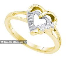 mom diamond .03 carat 925 yellow heart Mom ring life journey open love journey