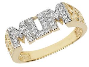 9CT Gold Mutter Ring Zirkonia Cz Mumie Mutter Korb Link Seite Geschenkpackung