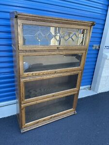 Antique Lawyers Stacking Wood/Glass Bookcase  Tiger Oak Leaded Glass