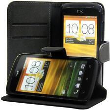 HTC One S PU Handy tasche schwarz case Brieftasche klapp schutz hülle cover