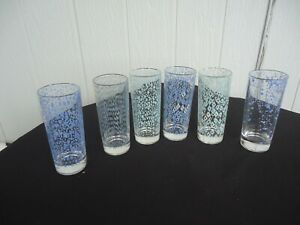 6  vintage retro highball glasses green blue beer juice