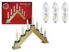 Pine Wood Candle Bridge Arch Light Bulbs Christmas Window Indoor Decoration XMAS