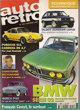 AUTO RETRO 195 BMW SERIE 02 PORSCHE 911  RS 2.7 SIMCA ARONDE P60 TALBOT SUNBEAM