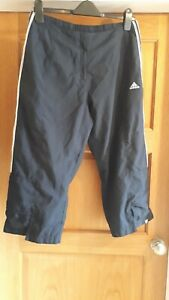 Adidas ladies cropped trousers navy and white size 16