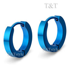 T&T Plain Blue Stainless Steel Narrow Rounded Hoop Earrings (EL01)