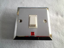 20 AMP DOUBLE POLE SWITCH WITH NEON IN POLISHED CHROME FINISH WHITE INSERTS BG
