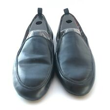 Oleg Cassini Slippers Mens 10 Black Slip On Faux Leather Rubber Sole Shoes