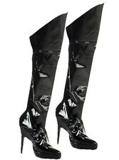Noir Wet Look couvre-bottes dominatrice S + M KINKY sexy accessoire robe fantaisie