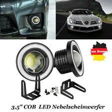"2pcs 3,5"" universal Auto LED Nebelscheinwerfer Set COB Angel Eyes Fog Light weiß"