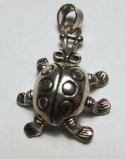Adorable Cute Lady Bug Pendant with Movable Wiggle Legs Sterling Silver .925