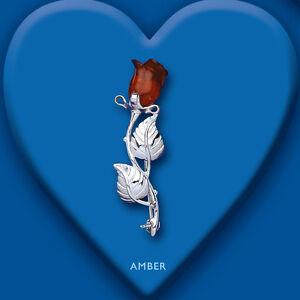 Amber Brooch Rose Design Solid Silver hallmarked