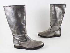 New! Trask Ariana Metallic Silver Shearling Boots Size US 7.5 $348