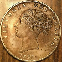 1846 GREAT BRITAIN VICTORIA SILVER HALF CROWN COIN - Cleaned