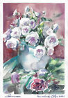 original painting 22x31,5 cm 468KO art modern watercolor flowers roses in a vase