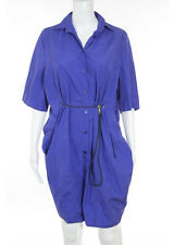 Acne Purple Short Sleeve V Neck Button Down Shirt Dress Size Italian 36