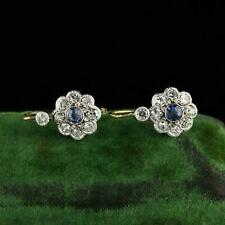 9ct White Gold Over Vintage 2.10 ct Blue Sapphire & Diamond Drop Dangle Earrings