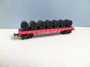 Model Power Spur N - 4041 US Stahlrollenwagen  4achs.  Rot/Schwarz   mit OVP