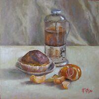 "T0314 Oil painting Canvas Hardboard Original Russia Soviet Still Life 9""x9"""