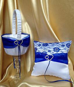 WHITE&ROYAL BLUE WEDDING RING PILLOW&FLOWER GIRL BASKET/19x19cm/7.5''x7.5''