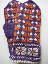 Latvian hand knitted 100% wool mittens, purple/orange/white (size XS)